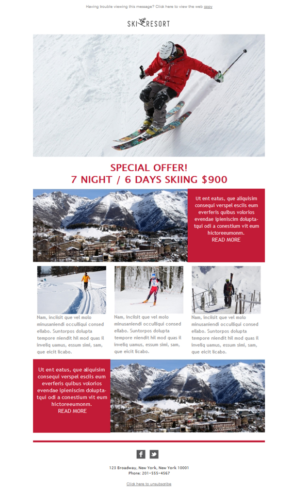 Templates Emailing Ski Resort Lodge Sarbacane