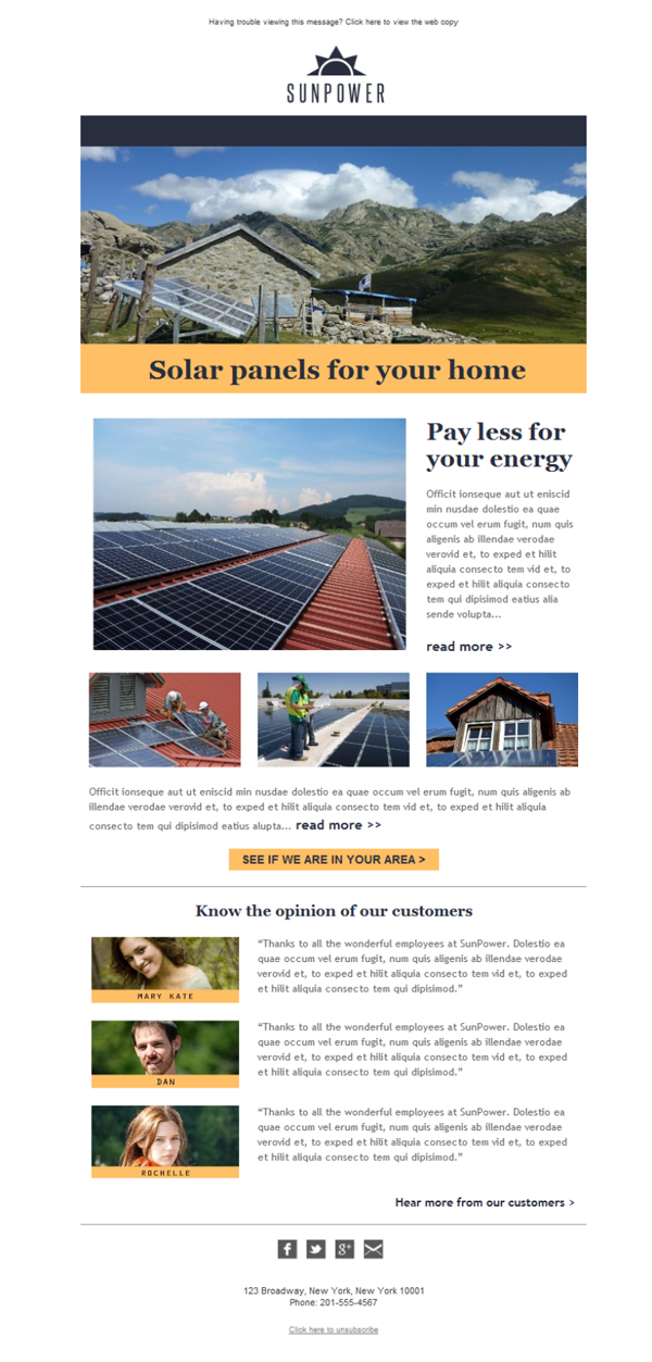 Solar Power Manufacturing Email Template Free For Download