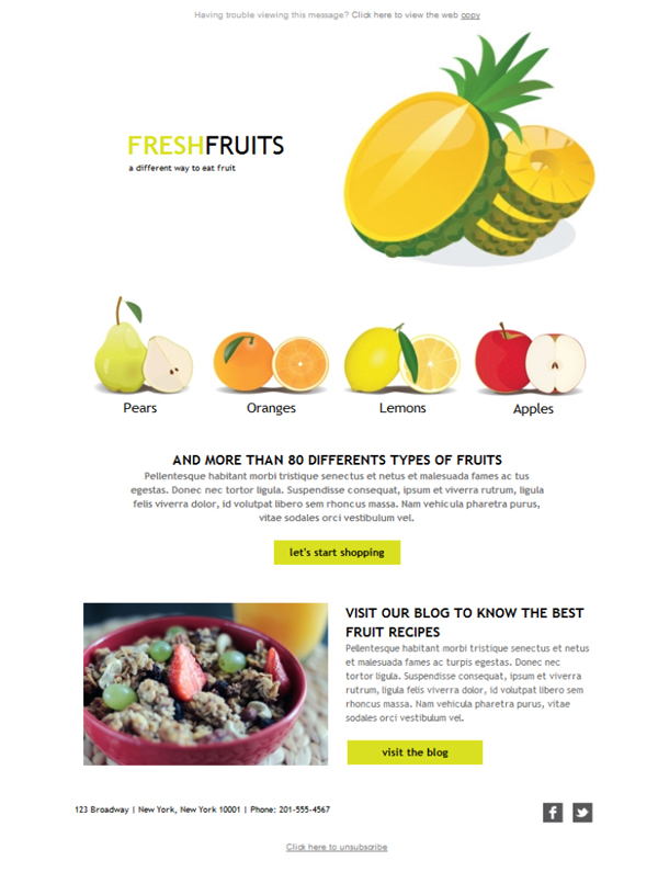 Templates Emailing Specialty Food Fruits Sarbacane