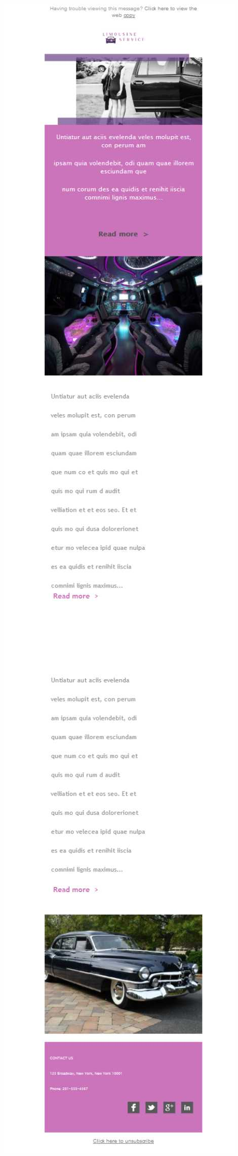 Templates Emailing Taxi Limousine Sarbacane