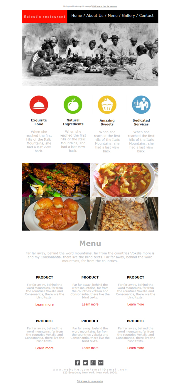 Templates Emailing Food Eateries Sarbacane