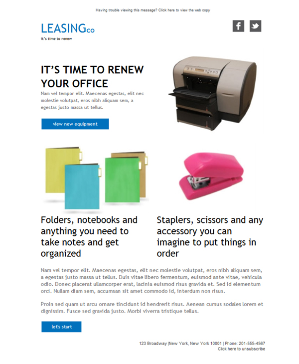 Templates Emailing Office Equipment Sarbacane