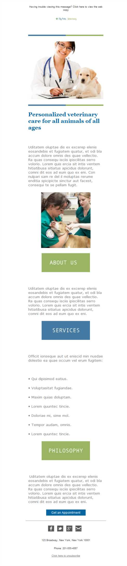 Templates Emailing Veterinary Clinic Sarbacane