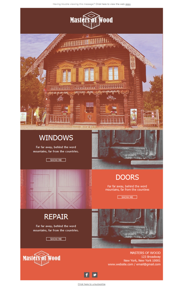 Templates Emailing Wood Doors Windows Sarbacane