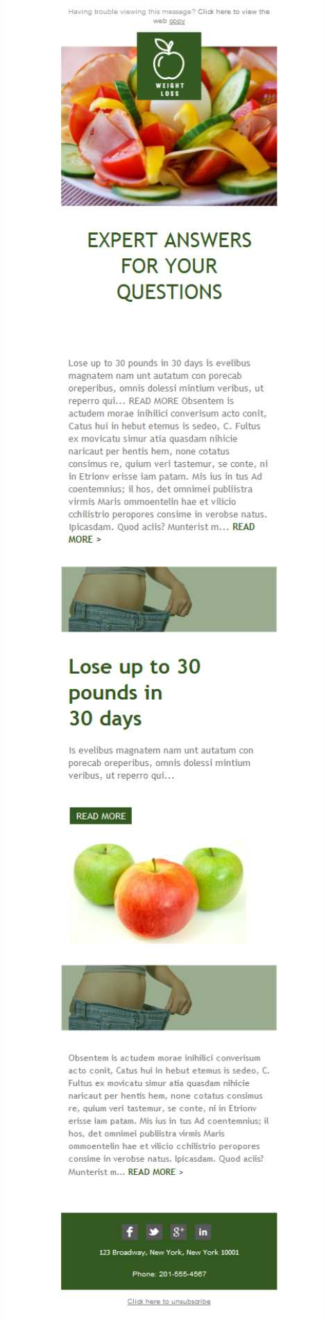 Templates Emailing Weight Loss Advice Sarbacane