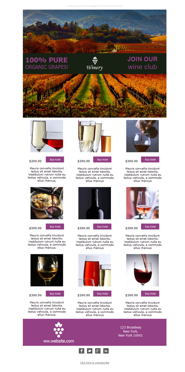 Templates Emailing Winery White Sarbacane