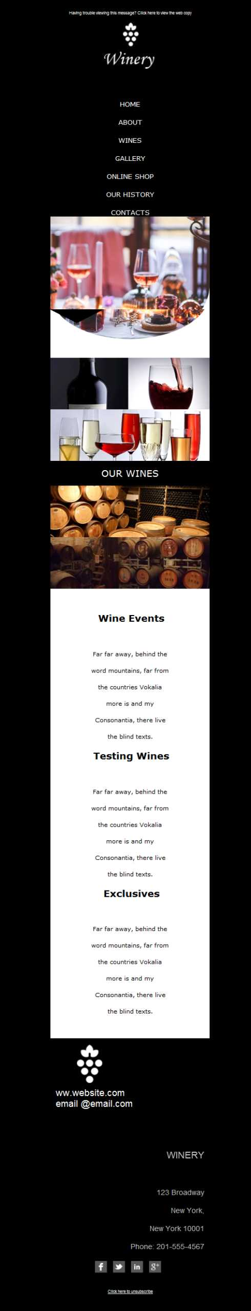 Templates Emailing Winery Rose Sarbacane