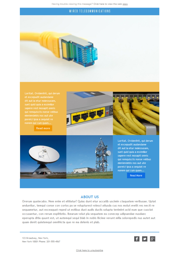 Free email templates - Download design Telecom Wired Connect