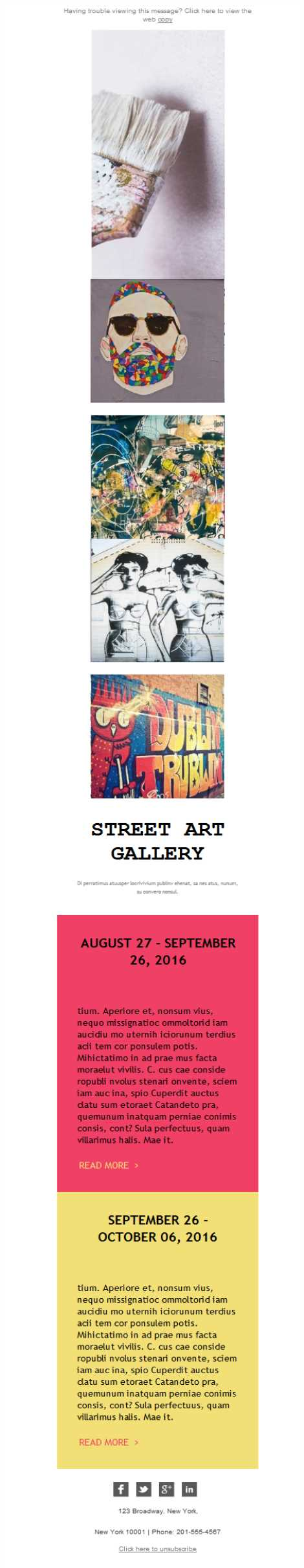 Templates Emailing Art Gallery Street Sarbacane