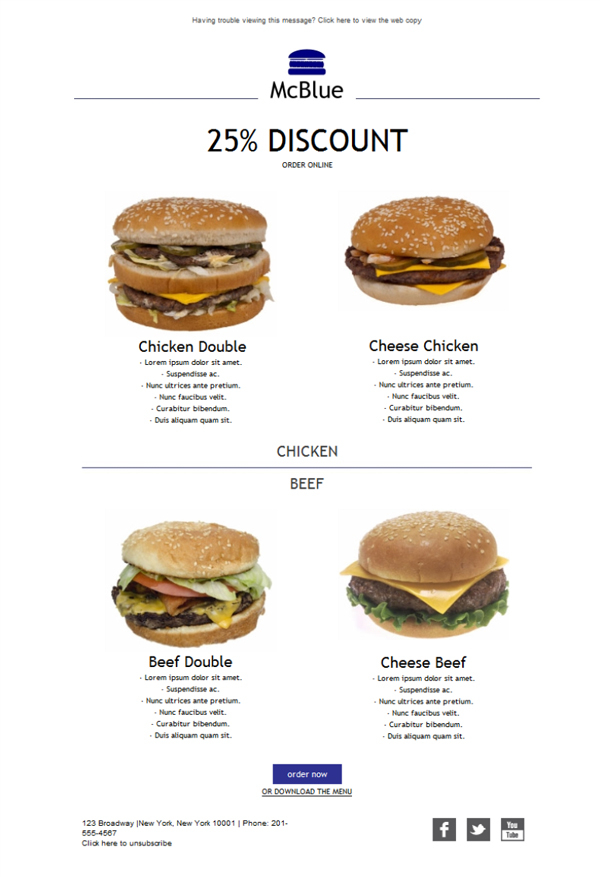 Templates Emailing Fast Food Burgers Sarbacane