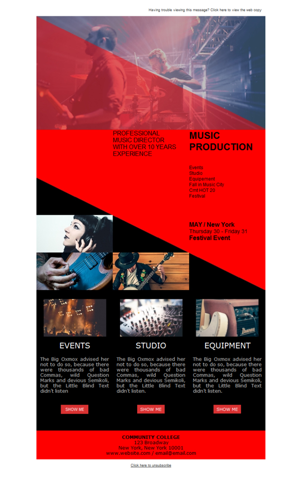 Templates Emailing Music Producer Pro Sarbacane
