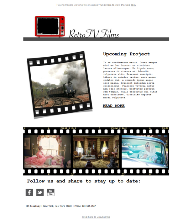 Templates Emailing Film Retro Video Sarbacane