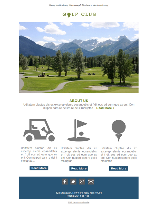 Templates Emailing Golf Course Club Sarbacane