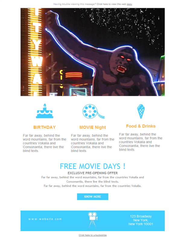 Templates Emailing Movie Theater Birthdays Sarbacane