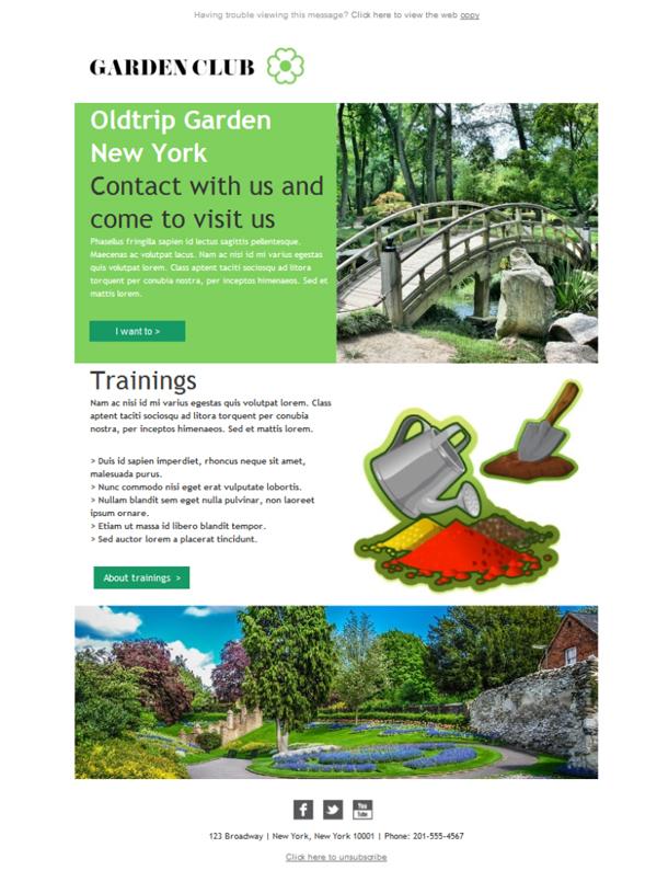 free email templates download design membership gardenclub