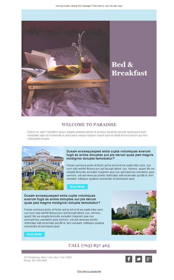 Templates Emailing Bed And Breakfast Inn Sarbacane