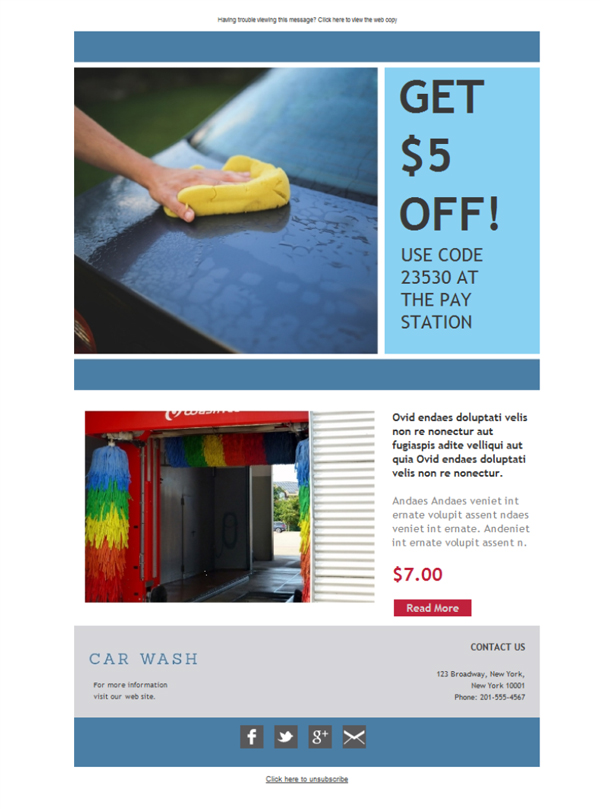 Templates Emailing Car Washing Sale Sarbacane