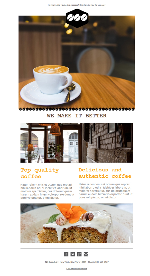 Templates Emailing Coffee Shop Tables Sarbacane
