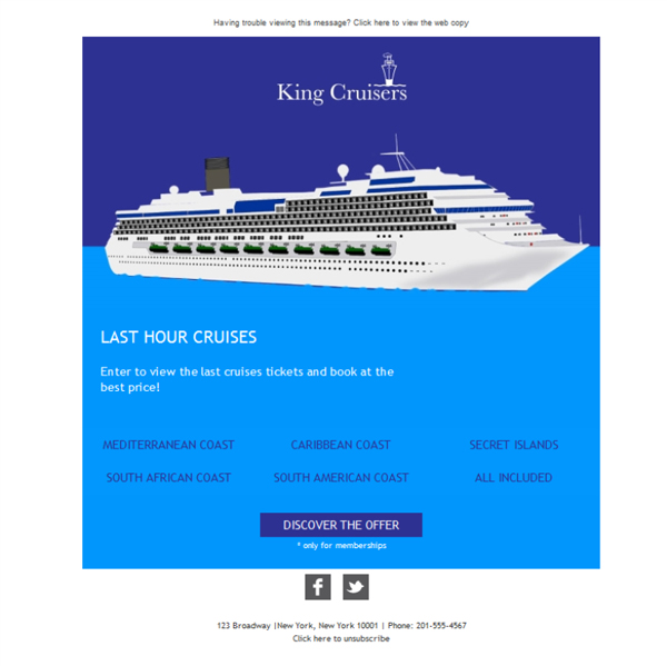 Templates Emailing Cruise Travel King Sarbacane