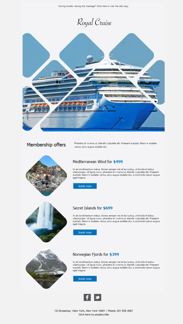 Templates Emailing Cruise Top View Sarbacane