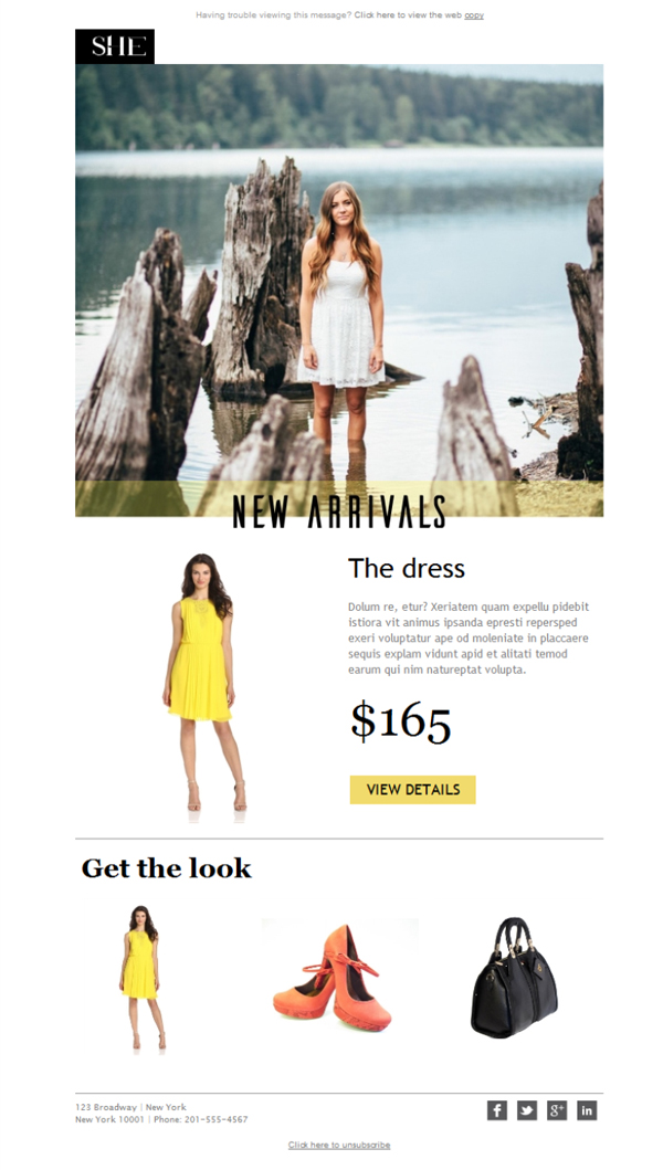 Templates Emailing Womens Clothing Yellow Sarbacane