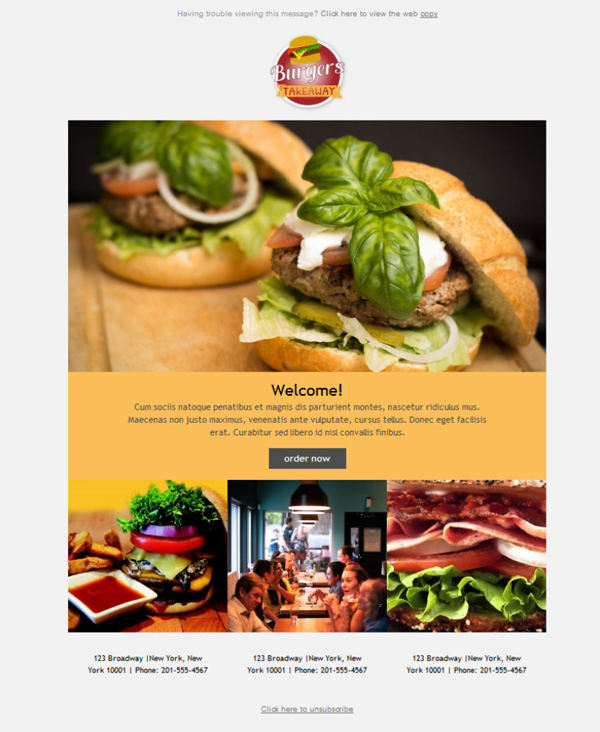 Templates Emailing Fast Food Takeout Sarbacane