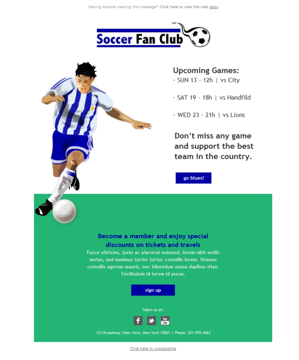 Templates Emailing Soccer Fan Club Sarbacane