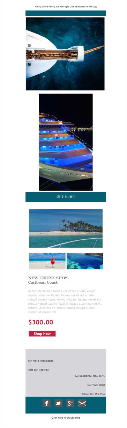 Templates Emailing Cruise Holiday Sarbacane