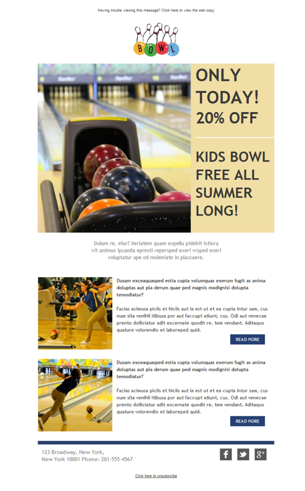 Templates Emailing Bowling Alleys News Sarbacane