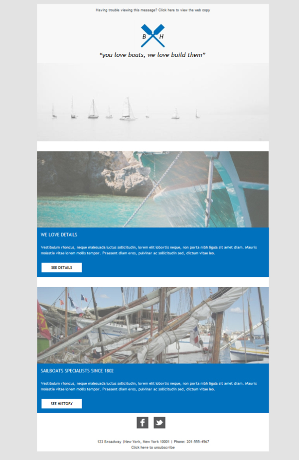 Templates Emailing Boat Building Sarbacane