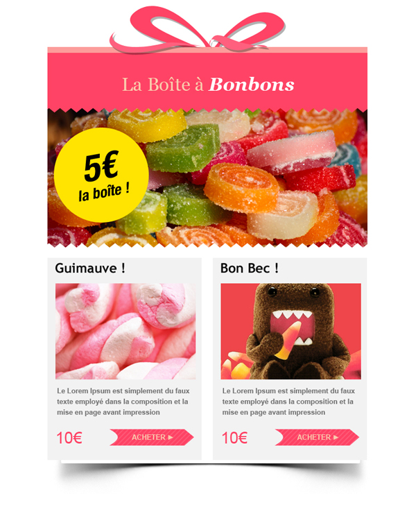 Templates Emailing Candy box Sarbacane